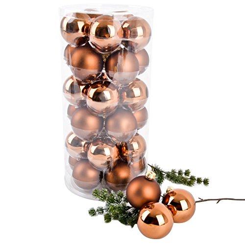 Dadeldo Living & Lifestyle Weihnachtskugel Premium 30er Set Glas 6cm Xmas Baumschmuck (Braun)