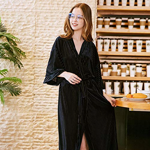 Thin Velvet Pajamas Frauen Herbst Long Single Gowns Stylish Und Komfortable Bathrobes,Black - Black Velvet Sheer