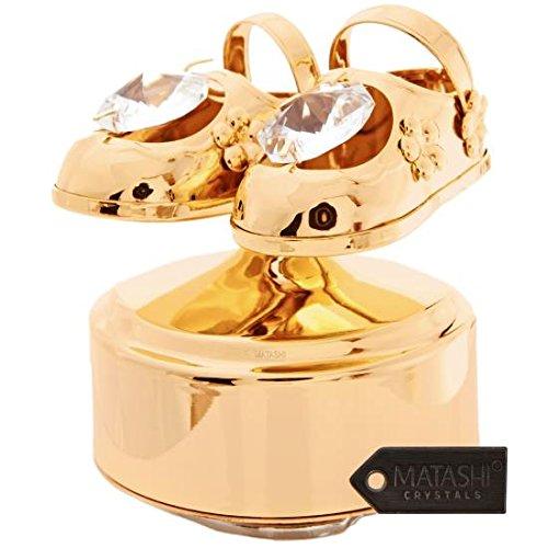 Vergoldete (24K) Baby-Schuhe-Musik-Box, besetzt mit original Matashi Kristallen. (Baby-schuh-box)
