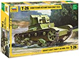 Zvezda 500783542 500783542-1:35 T-26 mod'32 Light Sov.Infantry Tank-Plastikbausatz-Modellbausatz-Zusammenbauen-Bausatz-für Einsteiger-detailliert, Olive