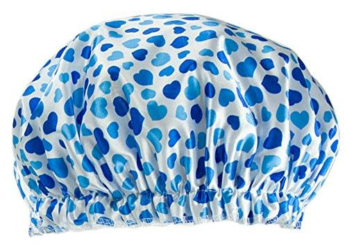 Poly PVC étanche multifonction couche Double douche Cap, Blue Heart