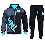 Star Fashion Mens Tracksuit Joggers Sweatshirt Hoddie Zip Up Top Jog Pants Cuffed Trouser Bottoms Sports Pants HNL Projection (X-Large, Black/Turq)