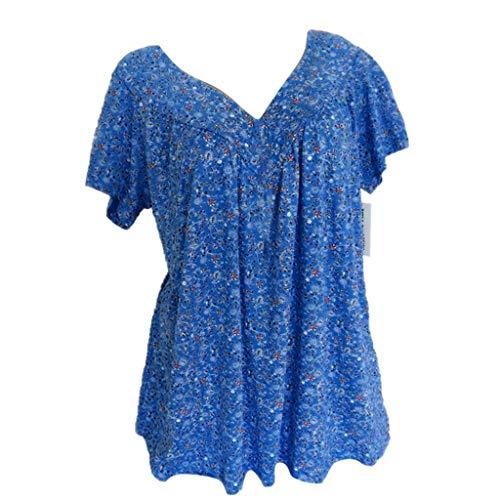 TWIFER Sommer Damen Übergröße T-Shirt Kurzarm V Ausschnitt Gedruckt Bluse Pullover Tops Shirts -