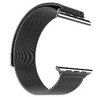 Apple Watch Seri 1 2 3 4 42-44 Mm Uyumlu Markacase Metal Mıknatıslı Kordon (42 Mm, Siyah)