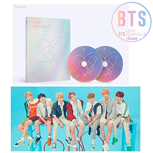 BTS LOVE YOURSELF Answer Album [F ver.] BANGTAN BOYS 2CD + Official Poster + Mini Book + Photo Card + Sticker Pack + Gift (4 Photo Cards Set) (E-gift Y Card F)