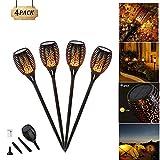 Danse flammes vacillantes de sécurité Lampes torches d'extérieur, 96 LED lanterne , Technologie de capteur de lumière, Lampe de décoration de Noël Halloween pour jardin patio pelouse (4 Pack)