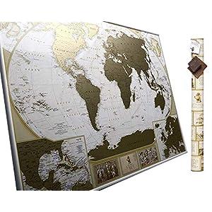 MyMap Mapamundi Deluxe «viaja y rasca» – Para Rascar los Lugares Que Has Visitado – Grande Con Pines – Marca 10 000 Ciudades y Lugares – Mapa para rascar – Rasca el Mundo – Rascar Mapamundi