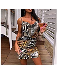 e2b035edb557 Midress Donna Nightclub Una Spalla Stampa Leopardo Abito Senza Maniche