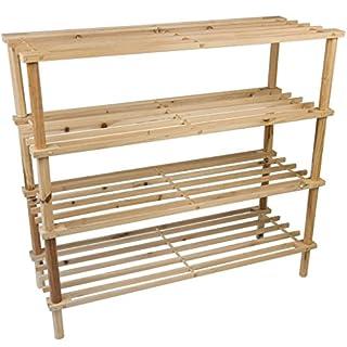 Holzschuhregal 4-Tier-Speicherorganisator aufrecht Ständer Stapelregal klein kompakt stapelbar Trainer Halter