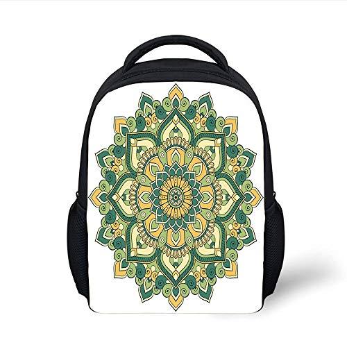 Kids School Backpack Mandala,Asian Style Ethnic Dahlia Petals Eastern Illustration Print Decorative,Jade Hunter Fern Green Apricot Plain Bookbag Travel Daypack