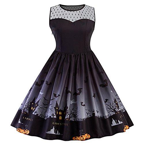 Swing-parade (SIMYJOY Damen Retro A-Linie Ohne Arm Halloween Kürbis Swing Kleider Skater Kleider für Party Cocktail Kostüm und Parade schwarz M)