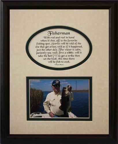 8x 10Fisherman Bild & Poetry Foto Geschenk Rahmen ~ creme/Hunter Green Matte mit Schwarz Rahmen ~ Geschenk für A Fisherman von klassischen Crafts INC