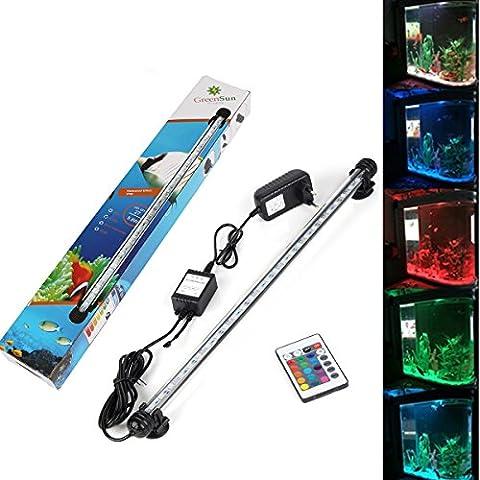 GreenSun LED Lighting 48cm RGB 27Led étanche IP68 Luminaires D'éclairage Aquarium Tube Fish Tank Lumière Submersible + 24 Touches RC Remote