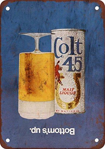 1970-colt-45-licor-de-malta-reproduccion-de-aspecto-vintage-metal-tin-sign-8-x-12-pulgadas