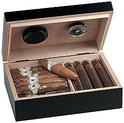 Egoist Premium - Zigarren Humidor Box aus Holz mit Hygrometer und Befeuchtungssystem für ca. 20 Zigarren I Zigarren-Zubehör - Schwarz