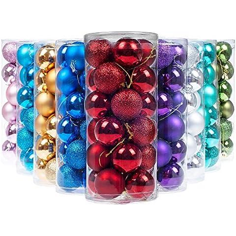 Ki Store 24pcs bolas de navidad adornos para árbol de Navidad bola decorativa, Rojo, 6 cm