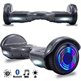 Magic Vida Skateboard Électrique 6.5 Pouces Bluetooth Puissance 700W avec Deux Barres LED Gyropode Auto-Équilibrage de Bonne qualité pour Enfants et Adultes(Noir Carbonique