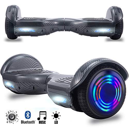 Magic Vida Skateboard Électrique 6.5 Pouces Bluetooth Puissance 700W avec Pneu à LED Gyropode Auto-Équilibrage de Bonne qualité pour Enfants et Adultes(Noir Carbonique