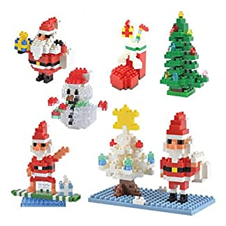 SKAJOWID Bloques De Construcción para Niños, 4 Juegos De Bloques De Construcción De Rompecabezas 3D Juguetes Creativos (Santa Claus, Calcetín De Navidad, Muñeco De Nieve, Árbol De Navidad)