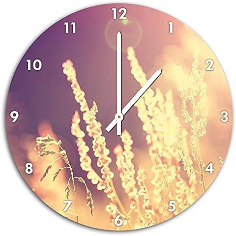 Erbe luce del sole romantico, parete diametro 48 centimetri orologio con il bianco in cima alle mani e il viso, oggetti decorativi, Designuhr, composito di alluminio molto bello per soggiorno,