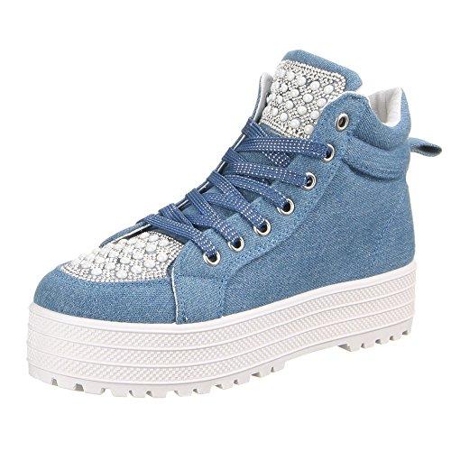 Damen Schuhe, W-65, FREIZEITSCHUHE Blau