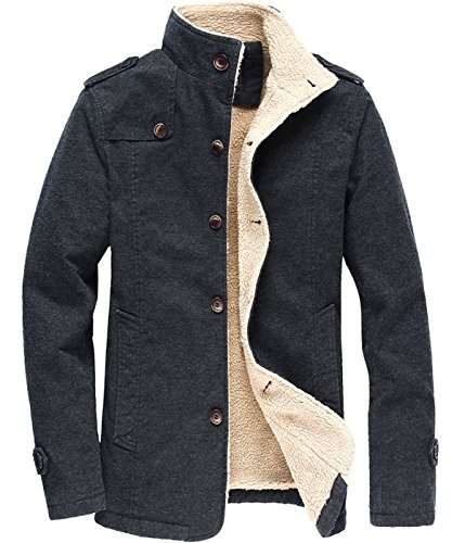 donhobo Men's Fleece Jackets Thick Military Outdoor Trench Coat Winter Parka