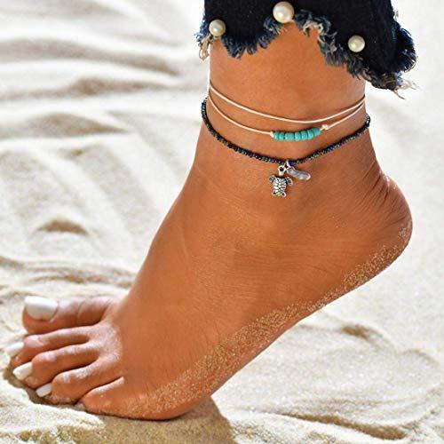 Bobopai Anklet Bracelet Foot Accessories Fashion Double Chain Beach Jewelry Barefoot Charm Bead Ankle Bracelet - Bohemian Style Adjustable Women Girls -