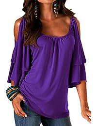 CYBERRY.M T-shirt Femme Fille Manches Courtes Épaule Nu Casual Chemise Blouse Top