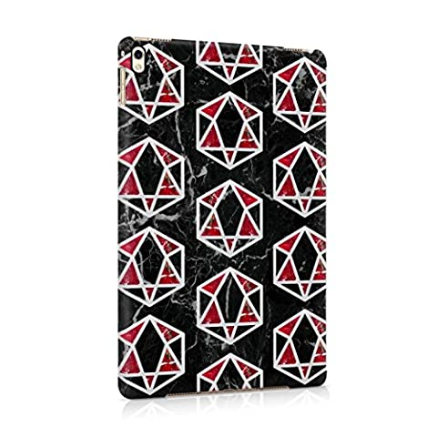 Black Onyx & Ruby Marble Stone, Cube & Triangle Pattern Hard Thin Plastic Phone Case Cover For iPad Pro 9.7