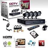 KIT VIDEOSORVEGLIANZA h264 CCTV 4 CANALI TELECAMERA INFRAROSSI DVR 4 CANALI – 4 ALIMENTATORI – 4 PROLUNGHE – HARD DISK 160 GB