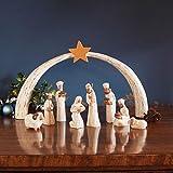 Traidcraft Weihnachtskrippe, Holz, geschnitzt, weiß gekalkt, 7 Figuren