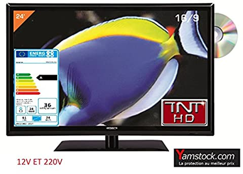 Télévision TV + DVD LED 24' HD 12V /220V camping car