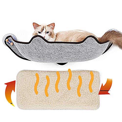 KOBWA katzenhängematte Katzen Fensterplatz Window Lounger, Cat Fenster Bett mit mit 1 Matte and 3 Saugnäpfen Pet Glass Fensterbrett Katzenhängematte Katzebett Fenster bis zu 10 kg für Katzen
