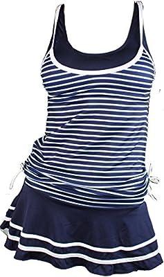 Summer Mae Mujer Bañador A Rayas Trajes de dos pieza Con falda