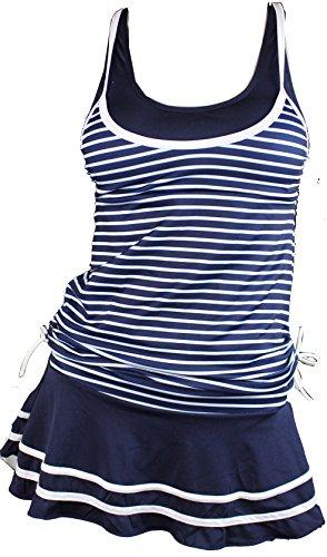 Summer Mae Damen Tankini Retro Streifen Badekleider Marineblau S
