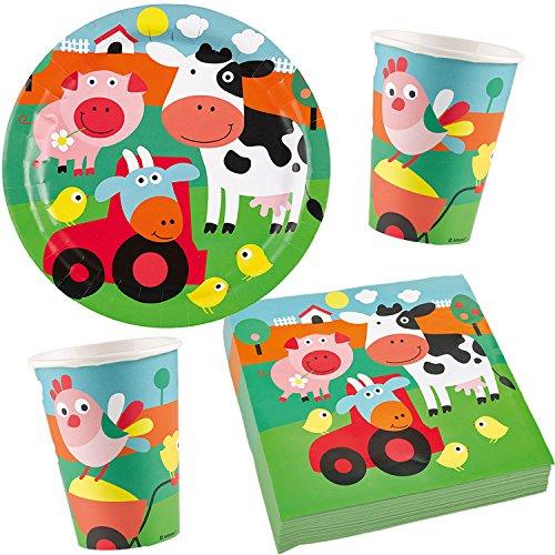 37-teiliges * FARM FUN * Partyset bestehend aus Teller + Becher + Servietten + Deko // Party Fete Carpeta® Geburtstag Motto Kinder Bauernhof Tiere Vögel