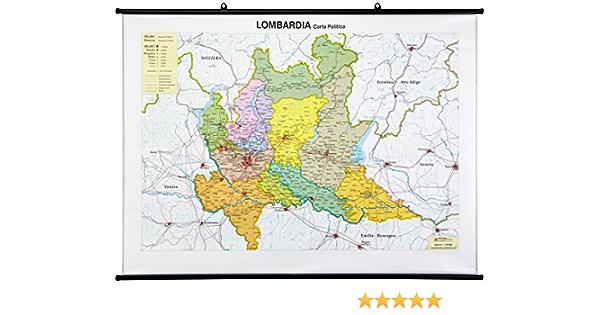 La Lombardia Cartina Fisica.Lombardia Scolastica Murale Fisico Politica Amazon It Libri