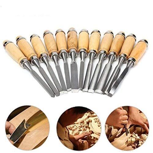 Carving Tool (paracity Holz Meißel Set 12tlg. Profi Skulptur Holz, Werkzeuge SK7Carbon Stahl Griff Holz Carving Tools mit, der Fall für DIY Art Craft Anfänger Amateur)