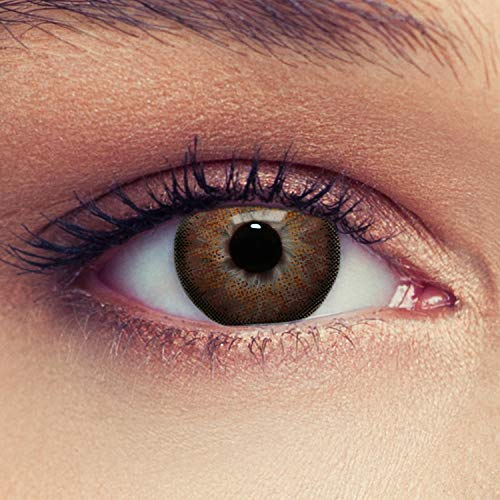 """Designlenses, Dos lentillas de color marrón avellana para un aspecto muy natural para los ojos oscuros de tres meses sin dioprtías/corregir + gratis caso de lente""""Dimension Hazel"""""""