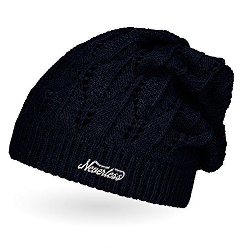 Damen Strickmütze, Strick-Beanie Winter-Mütze, einfarbig Neverless navy unisize