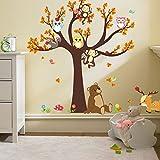 Ufengke® Cartoon Wald Tier Eule Affe Bär Baum Wandabziehbilder,Kinderzimmer Babyzimmer Entfernbare Wandtattoos Wandbilder