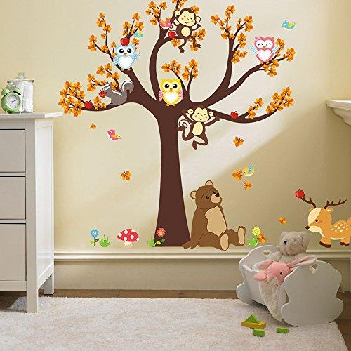 Ufengke® Cartoon Wald Tier Eule Affe Bär Baum Wandabziehbilder,Kinderzimmer Babyzimmer Entfernbare Wandtattoos Wandbilder Mädchen Fenster Aufkleber Für Autos