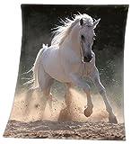 Kaleido.Shop Pferde Fleecedecke Schimmel 130x160cm Schwere Qualität