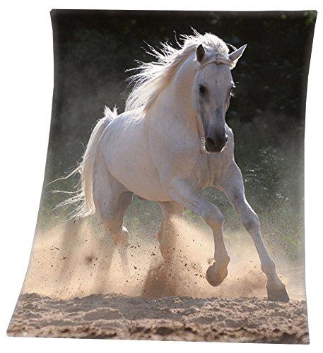 VonBueren Pferde Fleecedecke Schimmel 130x160cm Schwere Qualität -