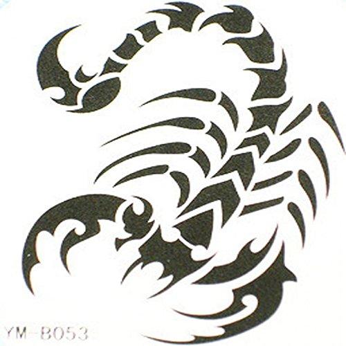 Autocollant de tatouage étanche GRASHINE scorpion noir animal