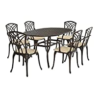 PananaHome Cast Aluminium Garden Table and Chairs 6 Seater Patio Furniture Set with Cushions Home Outdoor Balcony