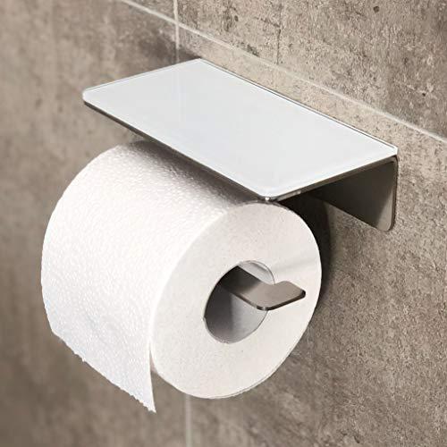 Toilettenpapierhalter Edelstahl mit Glas Ablage, Ohne Bohren, WC Rollenhalter Selbstklebend mit Ablagefläche, Design, Industrial