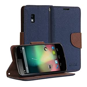 GMYLE (TM) Wallet Case Classic for LG Google Nexus 4 E960 - Navy Blue & Brown Cross Pattern PU Leather Slim Magnetic Flip Stand Cover (with Money & Card slots)