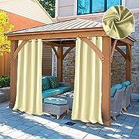 DOMDIL - Cortina para Exteriores con Ojales, toldo de jardín y balcón Impermeable, antimoho, glorieta de Playa, 1 Pieza, 132x215 cm, Color Beige