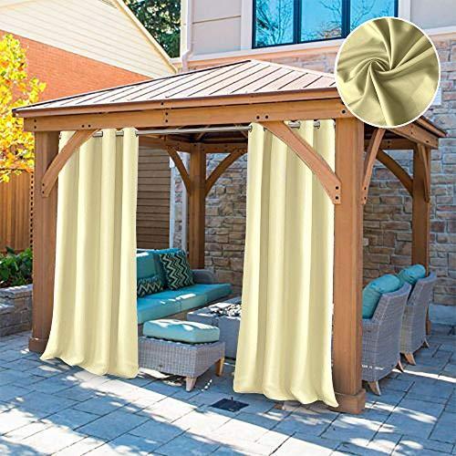 UniEco Outdoor vorhänge Gartenlauben Balkon-Vorhänge 132x275cm Verdunkelungsvorhänge mit Ösen, Vorhang Wasserdicht Mehltau beständig, Pavillon Strandhaus, 1 Stück